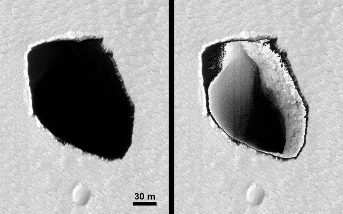 Foto do poço original (à esquerda) e clareada (à direita) - (Foto: Nasa)