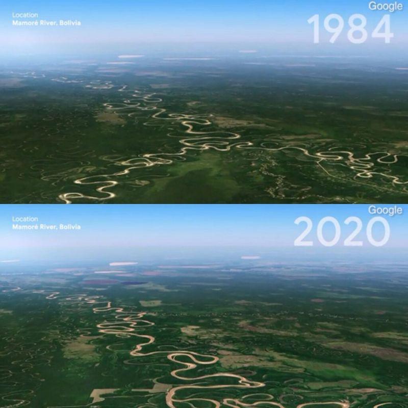Rio Mamoré, na Bolívia em 1984 e em 2020 - (Foto: Google Earth)