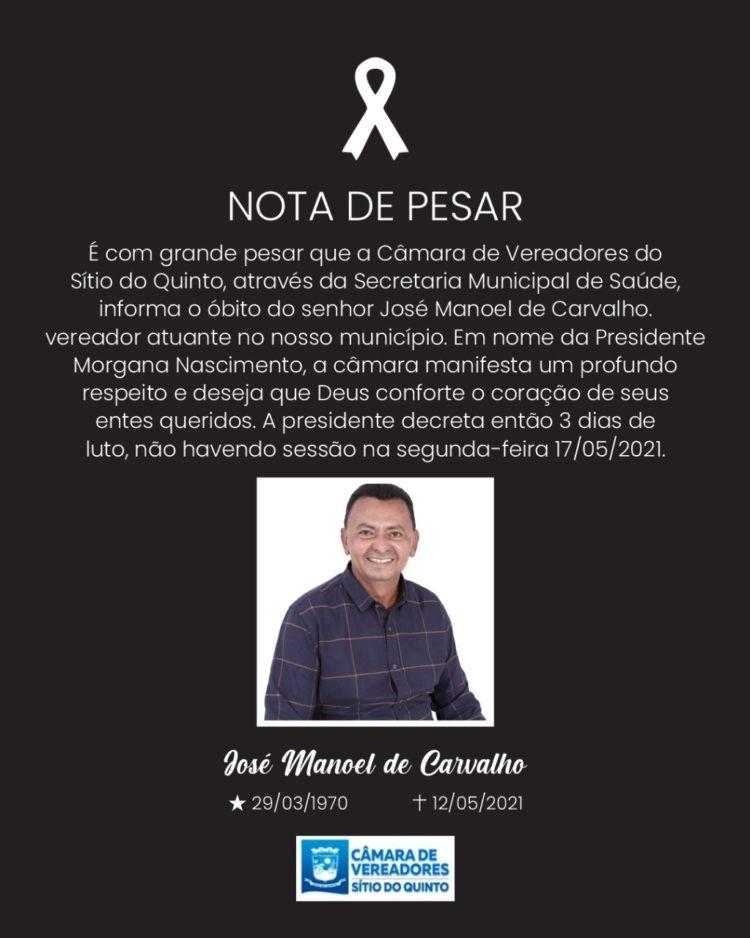 Ni do Planalto, vereador de Sítio do Quinto, morre por complicações da Covid-19