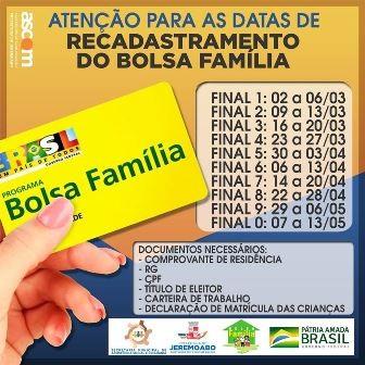 PM Jeremoabo BA convoca recadastramento do Bolsa Família