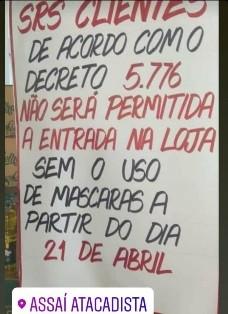 Paulo Afonso BA: clientes terão que usar máscara ao entrar em lojas e supermercados
